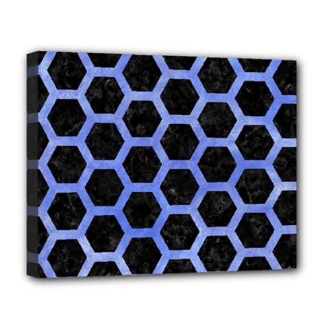 Hexagon2 Black Marble & Blue Watercolor Deluxe Canvas 20  X 16  (stretched) by trendistuff