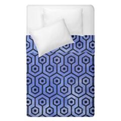 Hexagon1 Black Marble & Blue Watercolor (r) Duvet Cover Double Side (single Size)