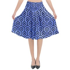Hexagon1 Black Marble & Blue Watercolor (r) Flared Midi Skirt by trendistuff