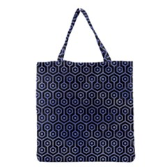 Hexagon1 Black Marble & Blue Watercolor Grocery Tote Bag by trendistuff
