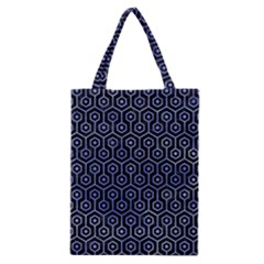 Hexagon1 Black Marble & Blue Watercolor Classic Tote Bag by trendistuff