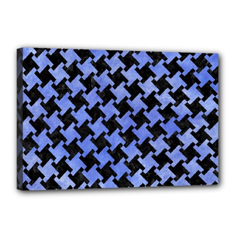 Houndstooth2 Black Marble & Blue Watercolor Canvas 18  X 12  (stretched) by trendistuff