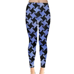 Houndstooth2 Black Marble & Blue Watercolor Leggings  by trendistuff