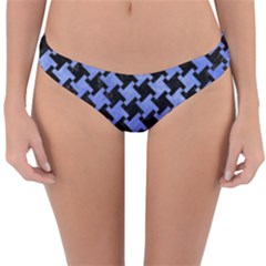 Houndstooth2 Black Marble & Blue Watercolor Reversible Hipster Bikini Bottoms