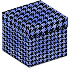 Houndstooth1 Black Marble & Blue Watercolor Storage Stool 12  by trendistuff