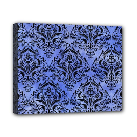 Damask1 Black Marble & Blue Watercolor (r) Canvas 10  X 8  (stretched) by trendistuff