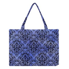Damask1 Black Marble & Blue Watercolor (r) Medium Tote Bag by trendistuff