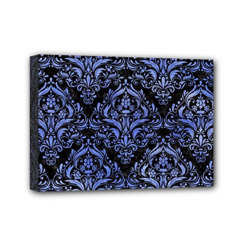 Damask1 Black Marble & Blue Watercolor Mini Canvas 7  X 5  (stretched) by trendistuff