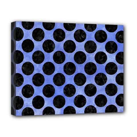 Circles2 Black Marble & Blue Watercolor (r) Deluxe Canvas 20  X 16  (stretched) by trendistuff