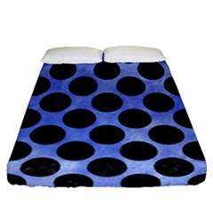 Circles2 Black Marble & Blue Watercolor (r) Fitted Sheet (queen Size) by trendistuff