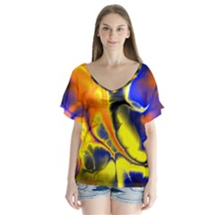 Fractal Art Pattern Cool Flutter Sleeve Top