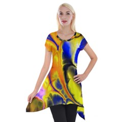 Fractal Art Pattern Cool Short Sleeve Side Drop Tunic