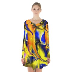 Fractal Art Pattern Cool Long Sleeve Velvet V Neck Dress