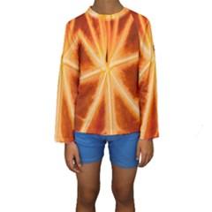 Red Leaf Macro Detail Kids  Long Sleeve Swimwear by Nexatart