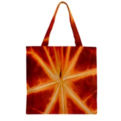 Red Leaf Macro Detail Zipper Grocery Tote Bag by Nexatart
