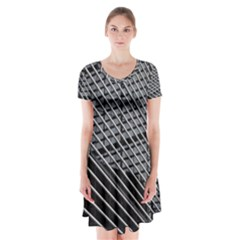 Abstract Architecture Pattern Short Sleeve V Neck Flare Dress