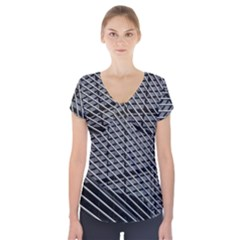 Abstract Architecture Pattern Short Sleeve Front Detail Top