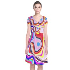 Colourful Abstract Background Design Short Sleeve Front Wrap Dress