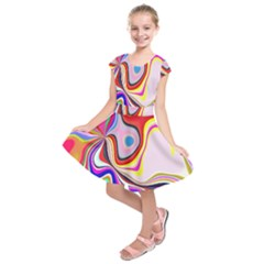 Colourful Abstract Background Design Kids  Short Sleeve Dress
