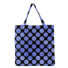 Circles2 Black Marble & Blue Watercolor Grocery Tote Bag by trendistuff