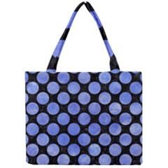 Circles2 Black Marble & Blue Watercolor Mini Tote Bag by trendistuff