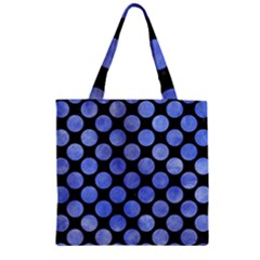 Circles2 Black Marble & Blue Watercolor Zipper Grocery Tote Bag by trendistuff