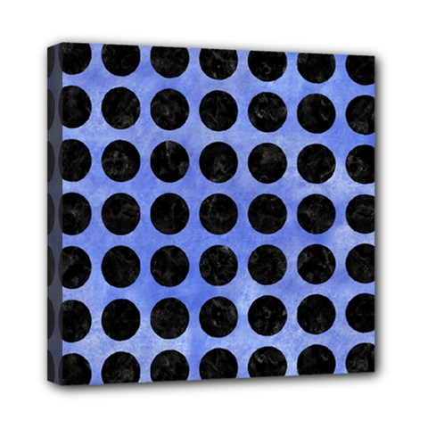 Circles1 Black Marble & Blue Watercolor (r) Mini Canvas 8  X 8  (stretched) by trendistuff