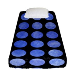 Circles1 Black Marble & Blue Watercolor Fitted Sheet (single Size) by trendistuff