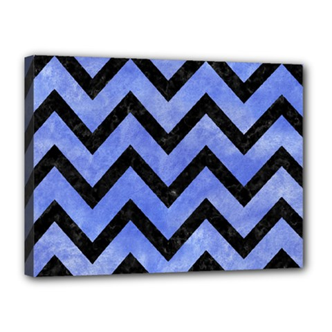 Chevron9 Black Marble & Blue Watercolor (r) Canvas 16  X 12  (stretched) by trendistuff