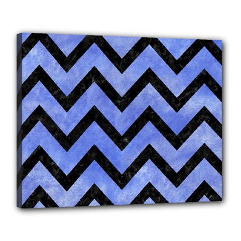 Chevron9 Black Marble & Blue Watercolor (r) Canvas 20  X 16  (stretched) by trendistuff