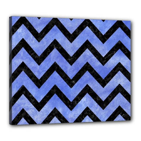 Chevron9 Black Marble & Blue Watercolor (r) Canvas 24  X 20  (stretched) by trendistuff