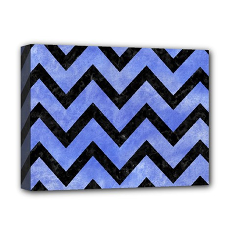 Chevron9 Black Marble & Blue Watercolor (r) Deluxe Canvas 16  X 12  (stretched)  by trendistuff