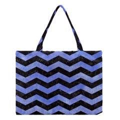 Chevron3 Black Marble & Blue Watercolor Medium Tote Bag by trendistuff