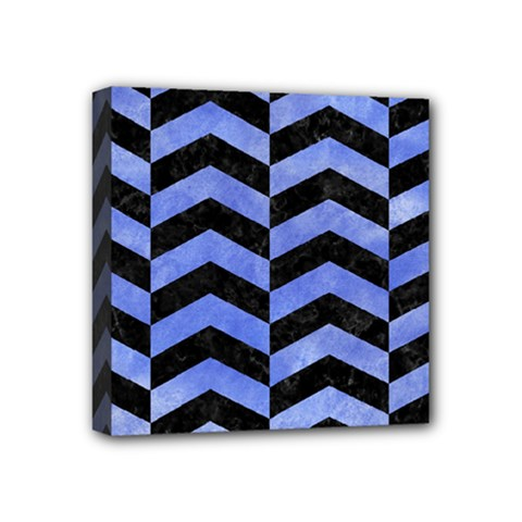 Chevron2 Black Marble & Blue Watercolor Mini Canvas 4  X 4  (stretched)