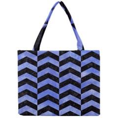 Chevron2 Black Marble & Blue Watercolor Mini Tote Bag by trendistuff