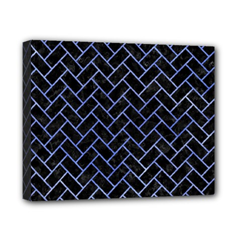 Brick2 Black Marble & Blue Watercolor Canvas 10  X 8  (stretched) by trendistuff