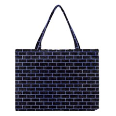 Brick1 Black Marble & Blue Watercolor Medium Tote Bag by trendistuff