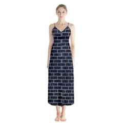 Brick1 Black Marble & Blue Watercolor Button Up Chiffon Maxi Dress