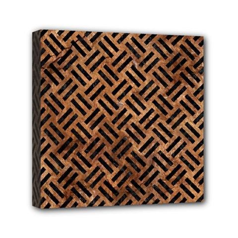 Woven2 Black Marble & Brown Stone (r) Mini Canvas 6  X 6  (stretched) by trendistuff