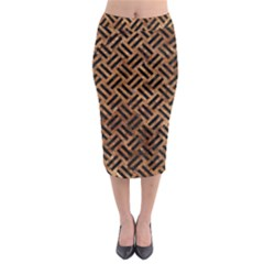 Woven2 Black Marble & Brown Stone (r) Midi Pencil Skirt by trendistuff