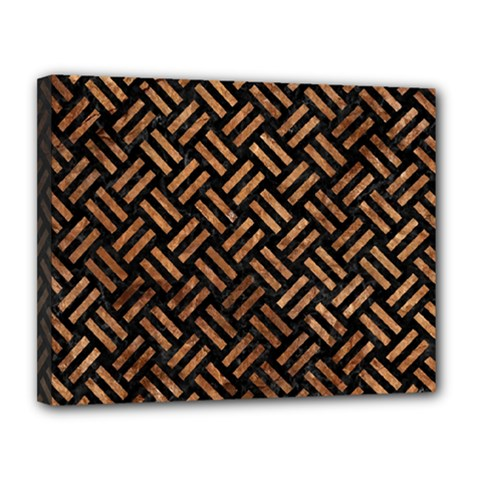 Woven2 Black Marble & Brown Stone Canvas 14  X 11  (stretched) by trendistuff
