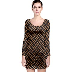 Woven2 Black Marble & Brown Stone Long Sleeve Bodycon Dress by trendistuff