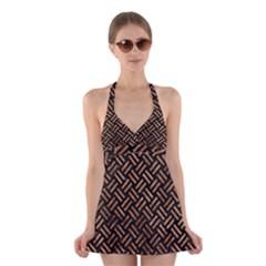 Woven2 Black Marble & Brown Stone Halter Swimsuit Dress