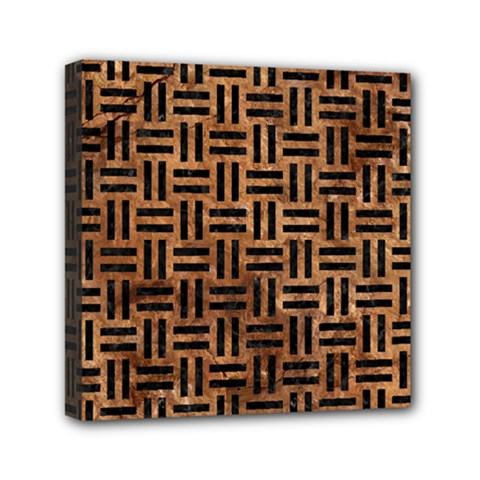 Woven1 Black Marble & Brown Stone (r) Mini Canvas 6  X 6  (stretched) by trendistuff