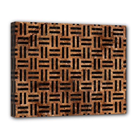 Woven1 Black Marble & Brown Stone (r) Canvas 14  X 11  (stretched) by trendistuff