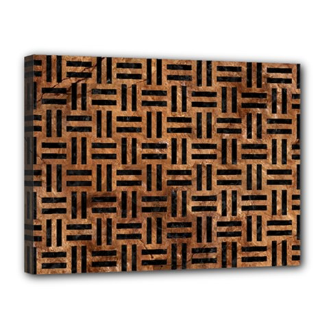 Woven1 Black Marble & Brown Stone (r) Canvas 16  X 12  (stretched) by trendistuff