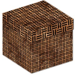 Woven1 Black Marble & Brown Stone (r) Storage Stool 12  by trendistuff