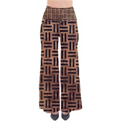 Woven1 Black Marble & Brown Stone (r) So Vintage Palazzo Pants by trendistuff