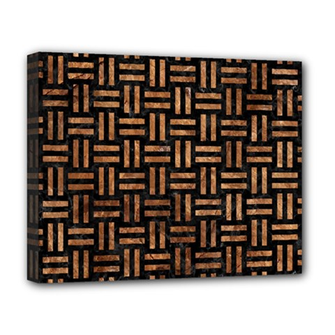 Woven1 Black Marble & Brown Stone Deluxe Canvas 20  X 16  (stretched) by trendistuff
