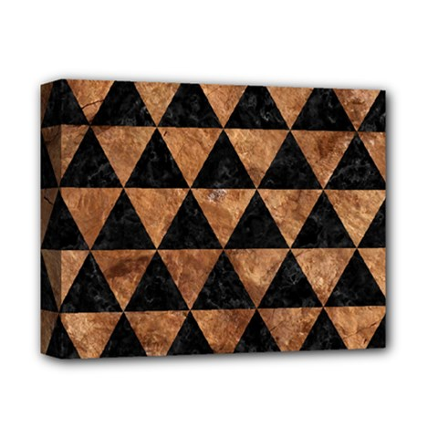 Triangle3 Black Marble & Brown Stone Deluxe Canvas 14  X 11  (stretched) by trendistuff